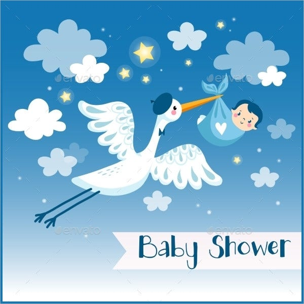 Cartoon Baby Shower Invitation Card