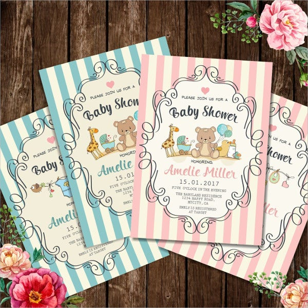 Colored Baby Shower Invitation Card
