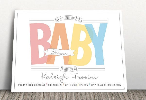 Rainbow Baby Shower Invitation Card