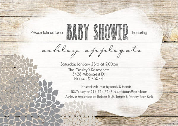 Rustic Baby Shower Invitation Card