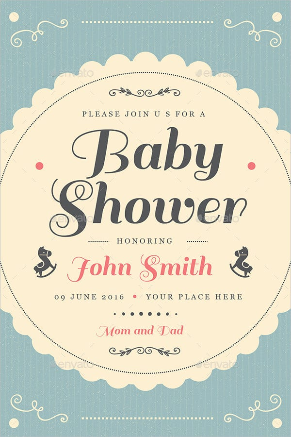 Vintage Baby Shower Invitation Card