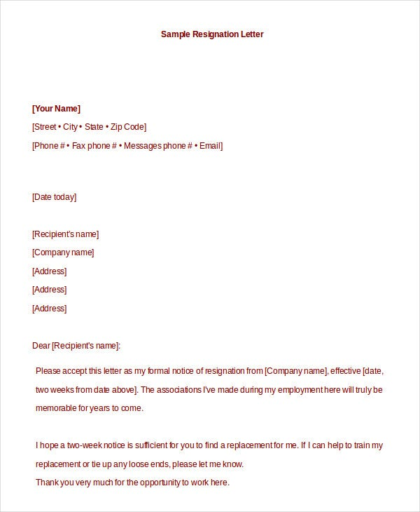 Formal Resignation Letter - 10+ Free Word, PDF Documents Download ...