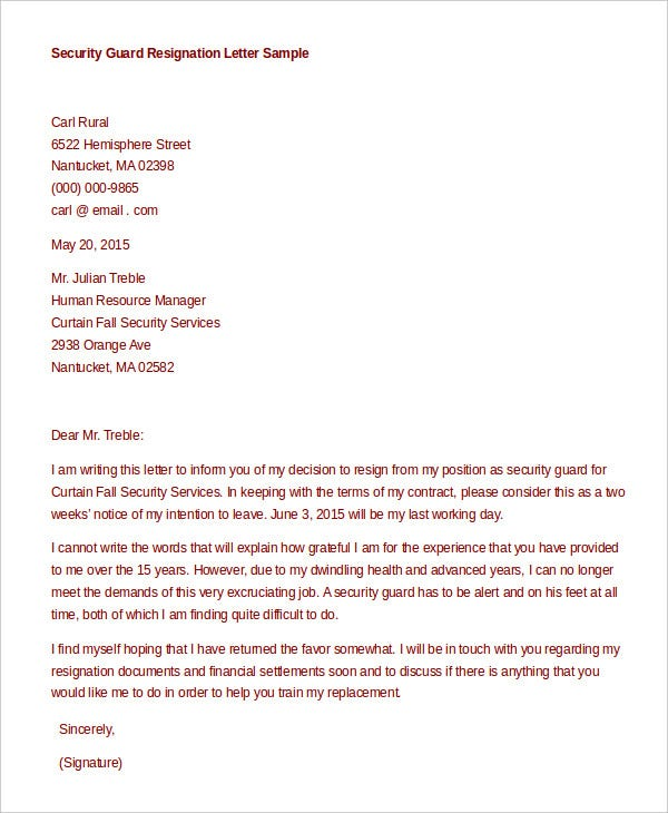 Formal resignation letter 15 free word pdf documents download formal resignation letter for security guard thecheapjerseys Choice Image