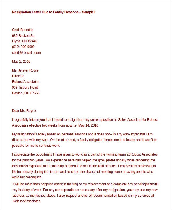 Formal resignation letter 15 free word pdf documents download formal resignation letter for family reasons spiritdancerdesigns Images