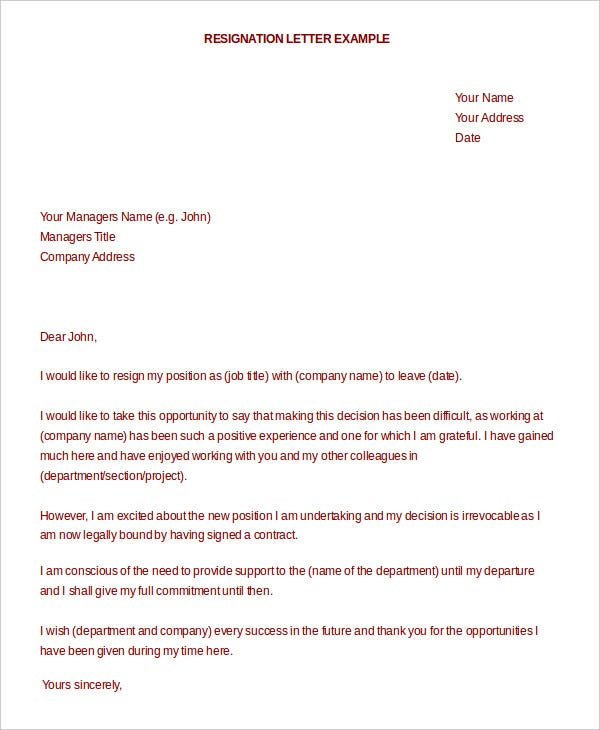 formal resignation letter for manager