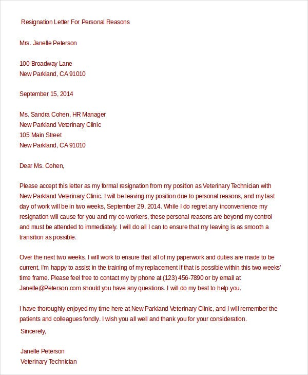 Formal resignation letter 15 free word pdf documents download formal resignation letter for personal reasons thecheapjerseys Choice Image