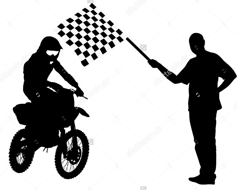 illustration of man waving checkered flag
