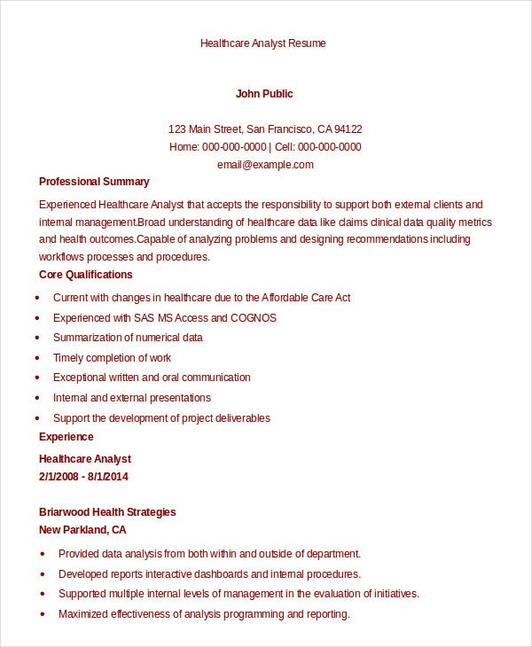 Download Healthcare Analyst Resume  Healthcare Analyst Resume