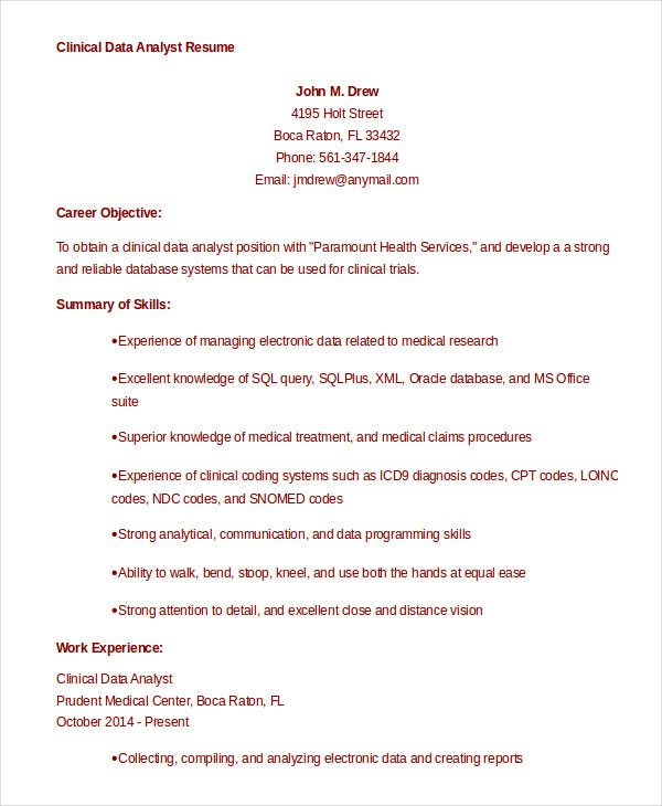 9 Data Analyst Resume Examples  PDF  DOC   Free