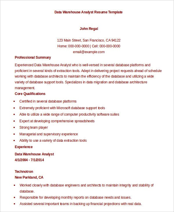 data analyst resume example 9 free word pdf documents download