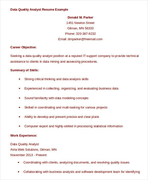 Data Quality Analyst Resume Example