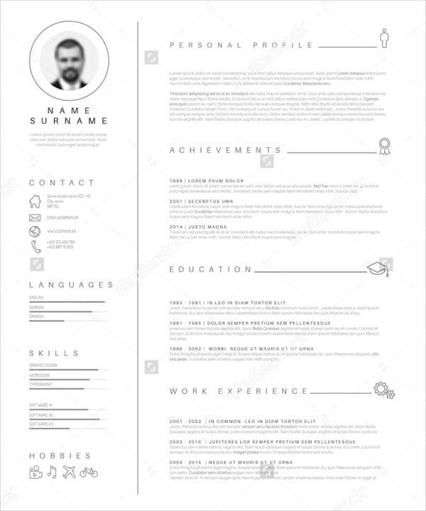 minimalist infographic design resume