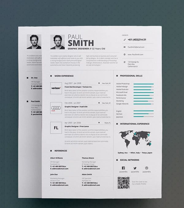 18 Infographic Resumes  Free