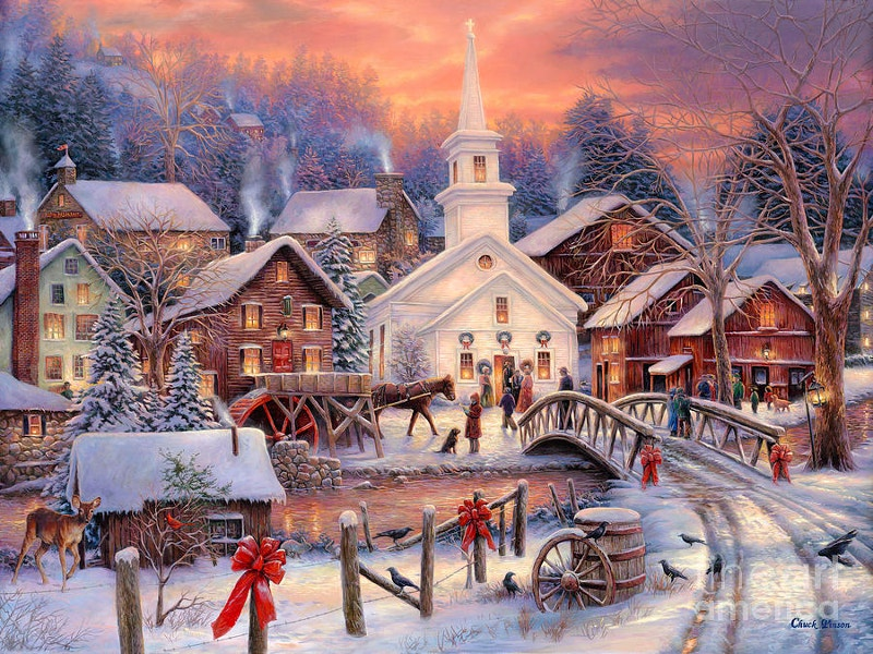 snow village christmas painting