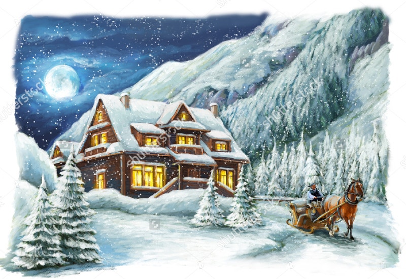 christmas winter painting