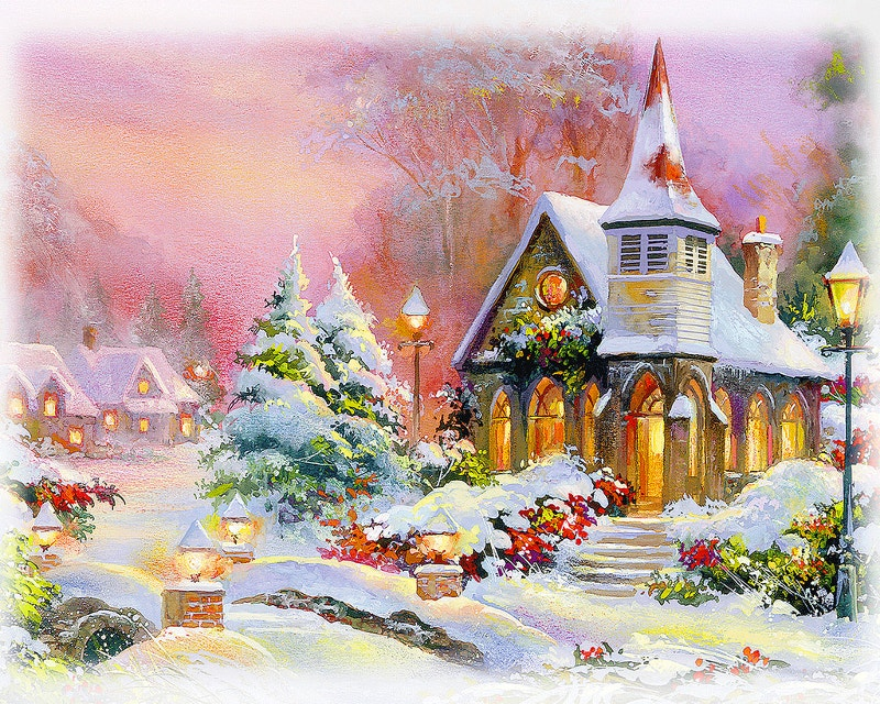 christmas church surreal painting