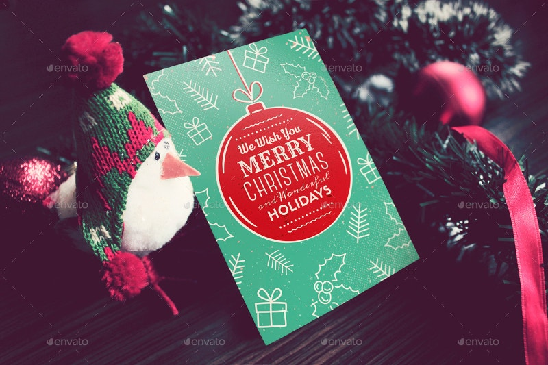 invitation christmas card mockup