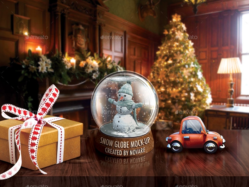 bizzard snow globe mock up xmas