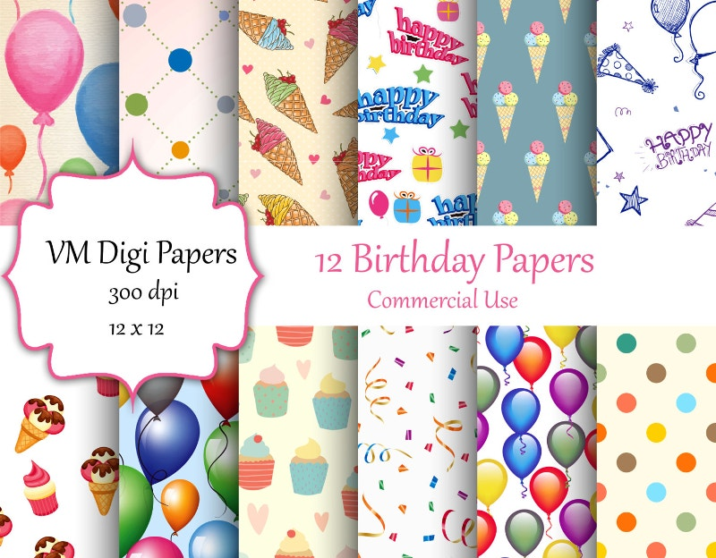 Birthday Digital Paper Background