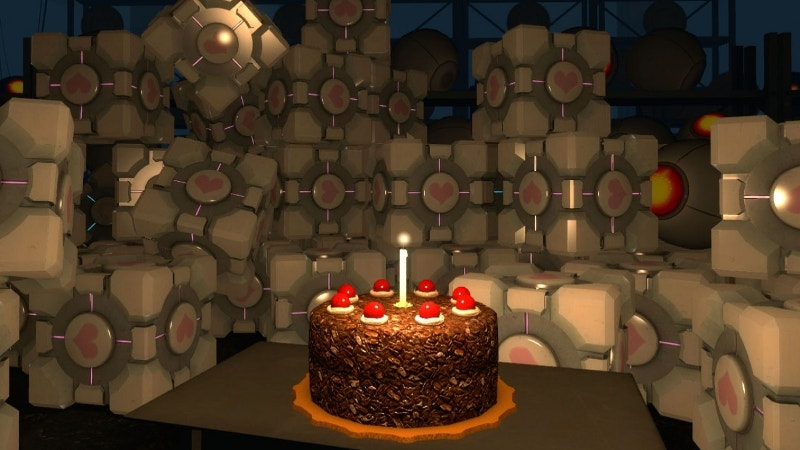 Birthday Background with Cubes and Cake