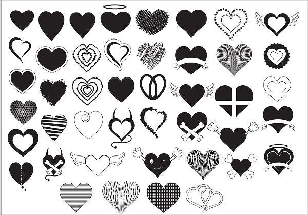 hearts silhouette icon