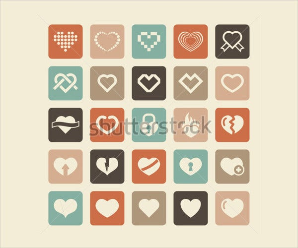 vector love icon set