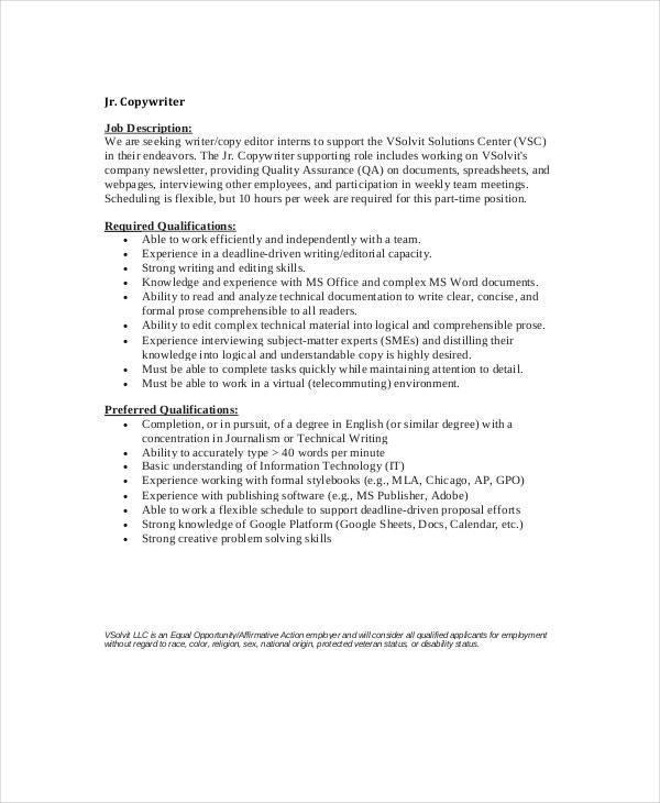 10 copywriter job description templates pdf doc free for Example of a job description template