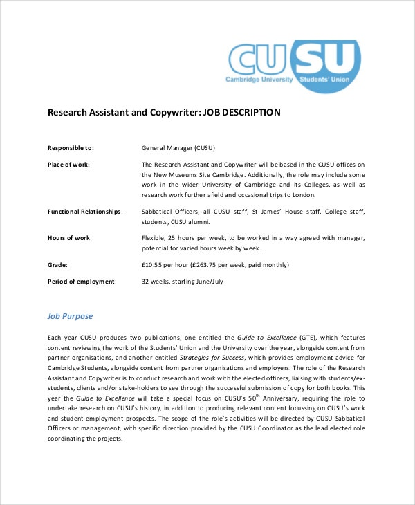 Copywriter Job Description - 8+ Free Pdf Documents Download | Free