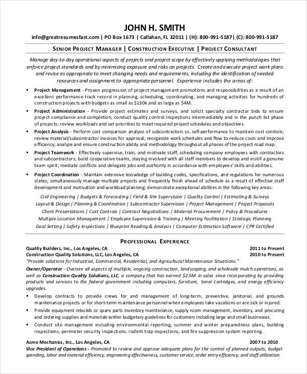 Construction Project Manager Resume  Project Manager Construction Resume