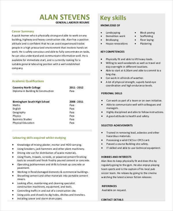 Construction Resume Example   Free Word Pdf Documents Download
