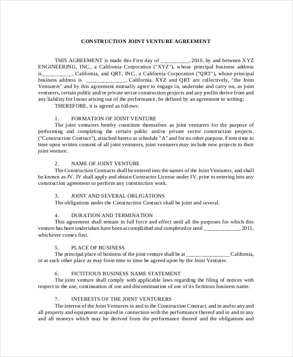 Joint Venture Agreement 9 Free Word PDF Documents Download – Joint Venture Agreements Sample