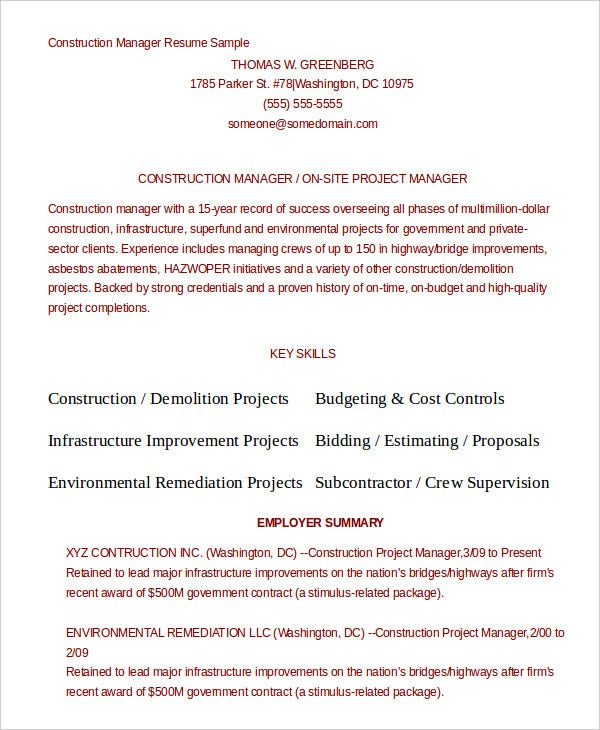 Construction Resume Example - 9+ Free Word, Pdf Documents Download