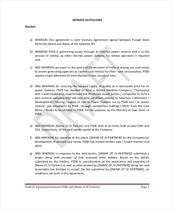 Company Joint Venture Agreement In PDF