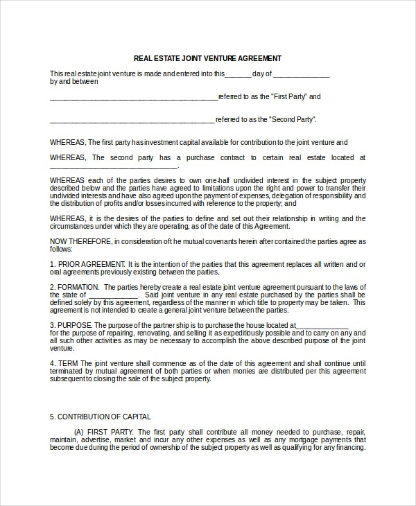Joint Venture Agreement 9 Free Word PDF Documents Download – Sample Joint Venture Agreement