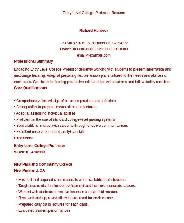 College Resume 9 Free Sample Example Format
