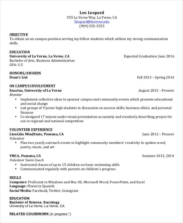 undergraduate college student resume template in pdf
