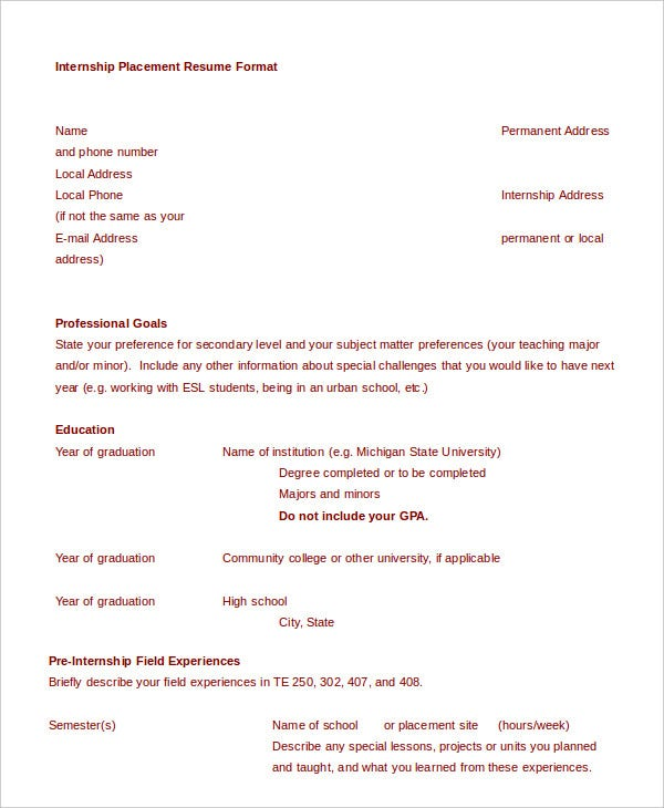 College resume 9 free sample example format free premium college student resume format for internship placement yelopaper Choice Image