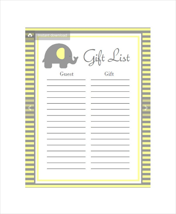 Nice Baby Shower Planners Part - 12: Baby Shower Gift List Planner Template In PSD