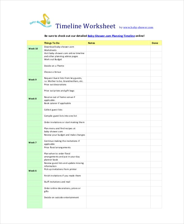 Baby Shower Planners Part - 16: Baby Shower Planning Timeline Worksheet Template