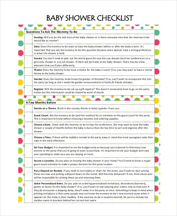 baby shower planning 5 free pdf documents download free premium