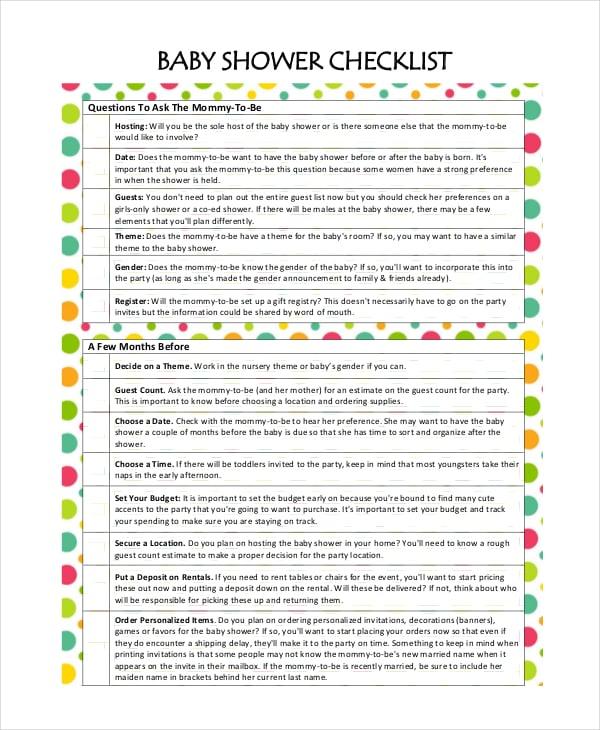 baby shower checklist template | trattorialeondoro