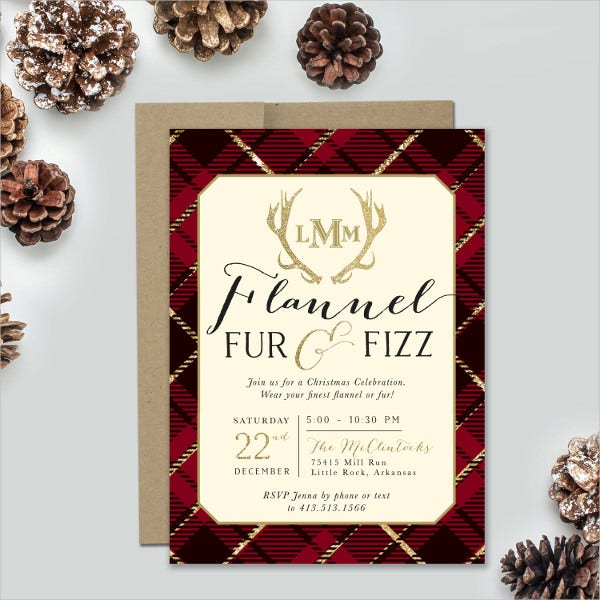 fur fizz holiday party invitation
