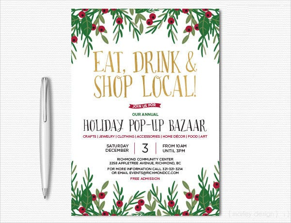 Gold Foil Holiday Party Invitation