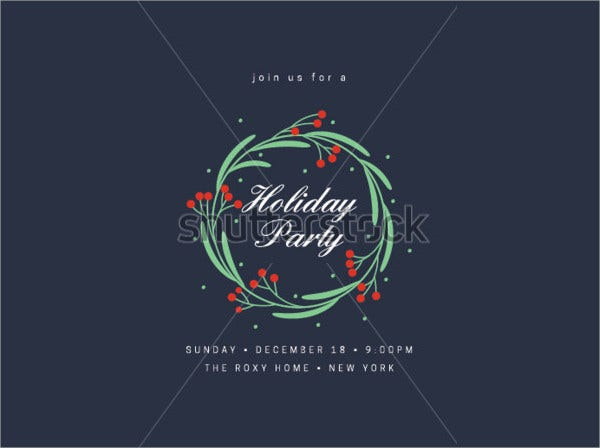 Holiday Party Invitation with Wreath