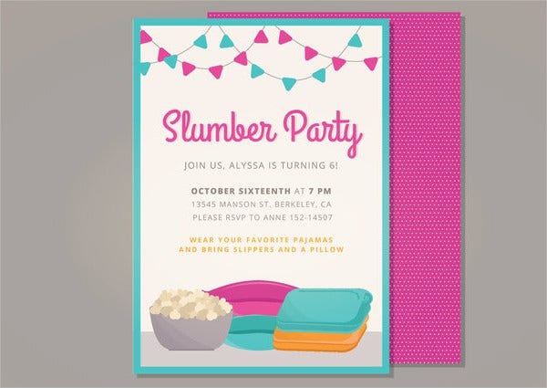 Slumber Party Vector Invitation