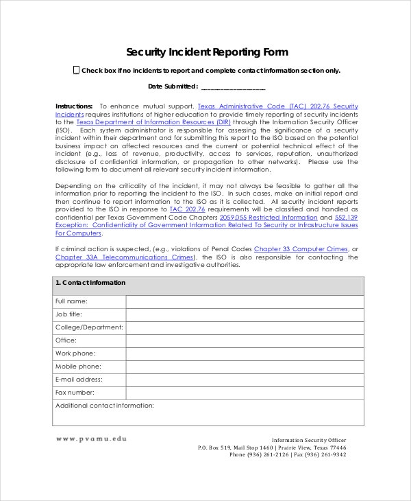 Incident Report Templates  Free Sample Example Format  Free