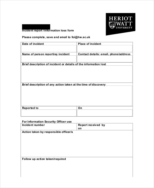 10 Incident Report Templates Free Sample Example Format – Sample Incident Report Form