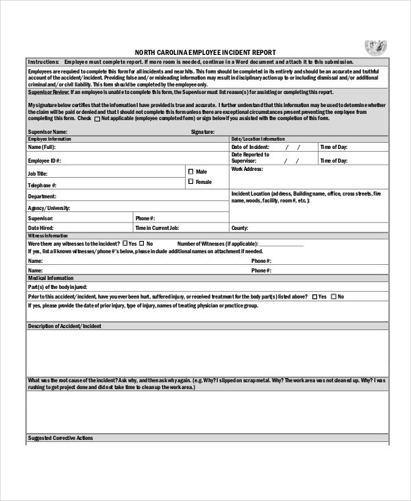 Employee Incident Report Template In PDF  Injury Incident Report Template