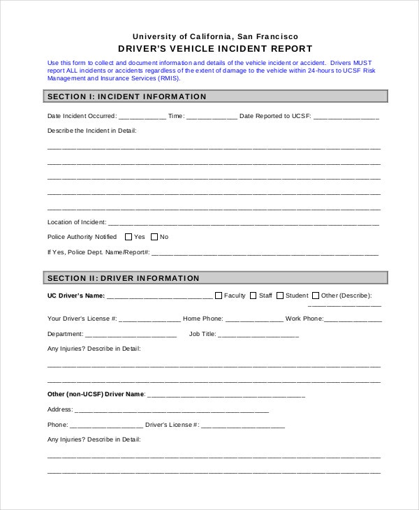 How to write a police incident report example – Free Incident Report Form Template Word
