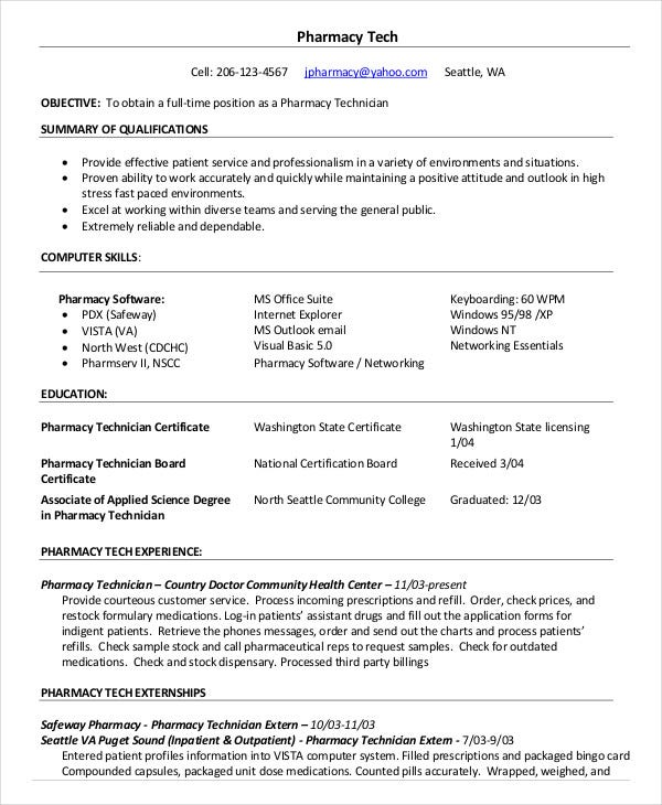 10 pharmacy technician resume templates pdf doc free premium